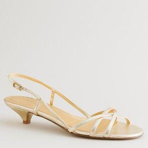 J. Crew // Lucie Kitten Heels Gold Strappy Sandals